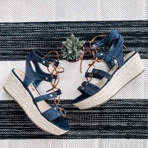 Unisa Lace Up Blue Denim Platform Wedge Sandals